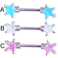Straight barbell nipple ring with jeweled star front-facing ends