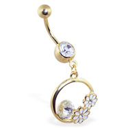 Gold Tone jeweled navel ring with dangling flower circle