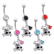 Jeweled Navel Ring with Dangling Skull with Jeweled Heart