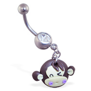 Jeweled Navel Ring with Dangling Winking Monkey Head
