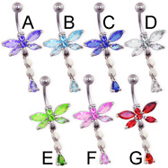 Jeweled dragonfly belly ring with teardrop dangle