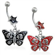Jeweled star navel ring with dangling skull butterfly