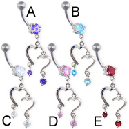 Navel ring with double heart dangle and gems