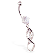 Navel ring with twisted dangle and jeweled hearts