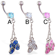 Belly ring with flipflop and chain dangle