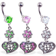 Navel ring with dangling jeweled clover and heart