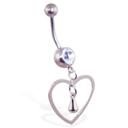 Navel ring with large dangling open heart