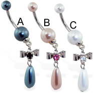 Pearl navel ring with dangling jeweled bow and pearl