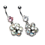 Jeweled navel ring with dangling miracle bead flower petals