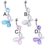 Navel ring with dangling multi-gem sideways butterfly