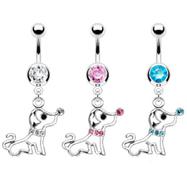 Navel ring with dangling jeweled puppy dog