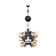 Black jeweled navel ring with dangling black and yellow enameled crown