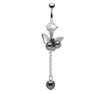 Navel ring with dangling mother of pearl butterfly and beads