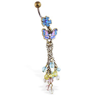 Vintage colorful flower belly ring with dangling butterfly, chains and stones