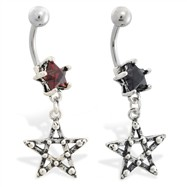 Jeweled star navel ring with dangling pentacle star