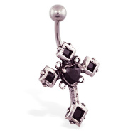 Big jeweled black gothic cross belly ring