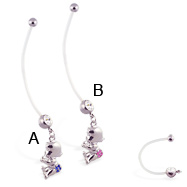 Super long flexible bioplast belly ring with dangling jeweled diaper baby
