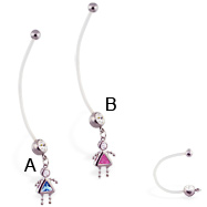 Super long flexible bioplast belly ring with dangling jeweled kid