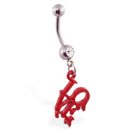 "Navel ring with dangling bloody philly ""LOVE"" park symbol"