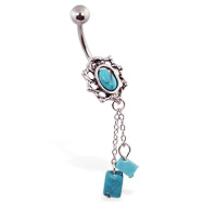 Turquoisebelly ring with dangling chains and Turquoisebeads