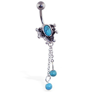 Vintage Turquoisebelly ring with dangling chains and balls