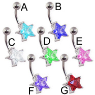 Large jeweled star belly ring
