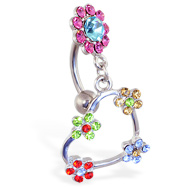 Reversed belly ring with multi-color flower top and dangling colored heart