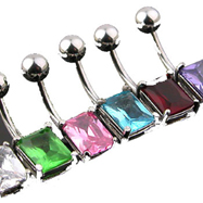 Large jeweled square belly ring