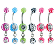 Jeweled navel ring with acrylic beach balls and dangling jeweled beach ball