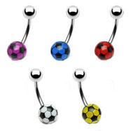 Navel ring with steel top ball and acrylic soccer bottom ball