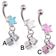 Jeweled star belly ring with dangling jeweled dice