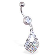 Belly ring with dangling multi-colored jewel paved heart
