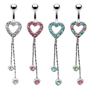 Jeweled heart navel ring with dangling chains and hearts