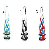 UV transparent taper with swirl pyrex design, 00 ga