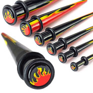 Flame print acrylic taper