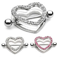 Paved Gem Heart Nipple Shields, 14 Ga