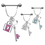 Nipple bar with dangling jeweled key and padlock, 14 ga