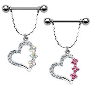 Nipple bar with dangling jeweled heart, 14 ga