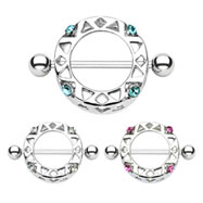 Pair Of Round Jeweled Nipple Shields, 14 Ga