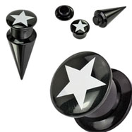 2-In-1 Interchangeable Black Acrylic Screw Fit Taper With Star
