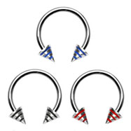 Stainless steel circular (horseshoe) barbell with epoxy striped cones, 16 ga
