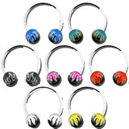 Stainless steel circular (horseshoe) barbell with acrylic flame balls, 14 ga