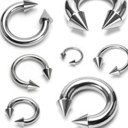 Stainless steel circular (horseshoe) barbell with cones, 8 ga