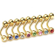 "Gold Tone 3/8""(10mm) long eyebrow ring with jeweled CZ balls, 16 ga"