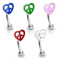 Curved barbell with peace heart top, 16 a