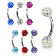 Curved barbell with crystal paved gem balls, 16 ga