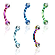 Titanium anodized curved barbell with clear jeweled balls, 16 ga