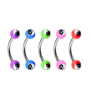 Curved barbell with colored acrylic ying-yang balls, 16 ga
