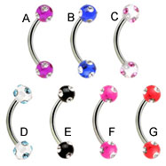Curved barbell with multi-jeweled acrylic balls, 16 ga