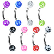 Curved barbell with acrylic peace sign balls, 16 ga